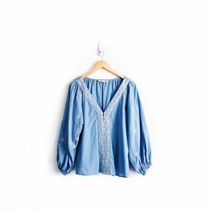 Zara Embroidered Peasant Blouse